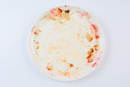 dirty and empty dish on white background