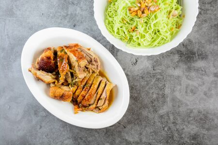 Roasted duck noodles, green noodles with roasted duck, Asian foods
