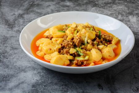 Mapo Tofu, popular Chinese dish.  The classic recipe consists of silken tofu, ground pork or beef and Sichuan peppercorn to name a few main ingredients. 写真素材 - 129685968