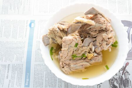 Slow Cooker Pork Bone Broth, it's simmered for many hours to extract as much nutrients from it. The long cooking time breaks down bone to release vitamins, collagen, nutrients are good for us.