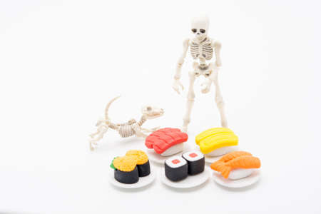 Skeleton, dog and foods, enjoy eating until death with Japanese foods. Reklamní fotografie