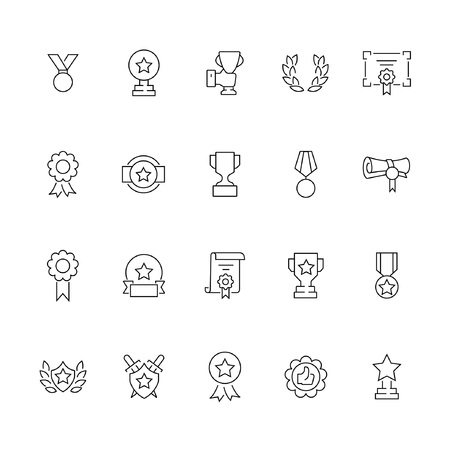 Simple set of awards related vector line icons illustration.
