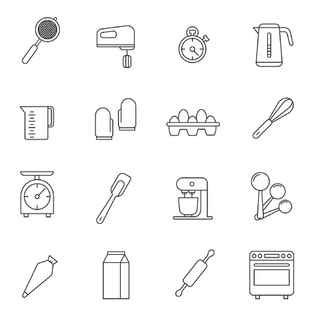 Simple set of cooking related vector line icons. Contains such icons as frying pan, boiling, flavoring, blending and more.