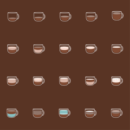 Coffee ingredients chart - illustration coffee cup, chart, food and drink, bubble, mug. Illustration