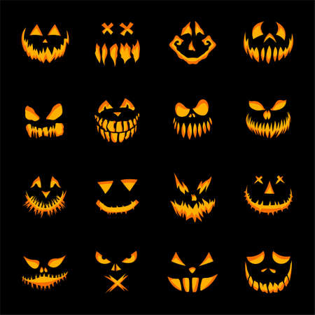 Scary faces of Halloween pumpkin or ghost