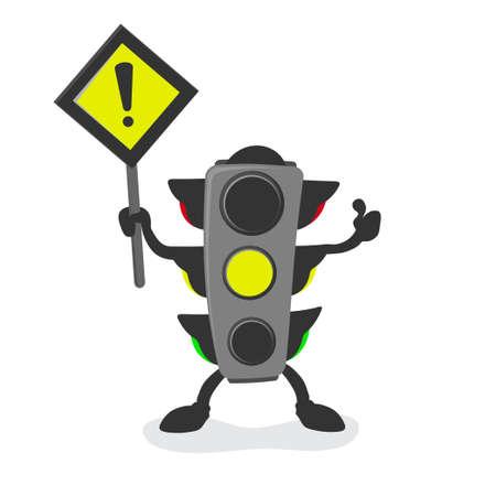 Traffic light mascot, yellow light, be careful
