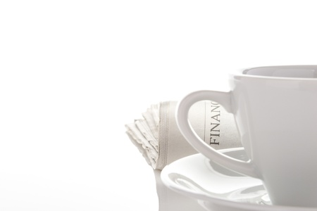 romance strategies: Newspaper and coffee cup  Stock Photo