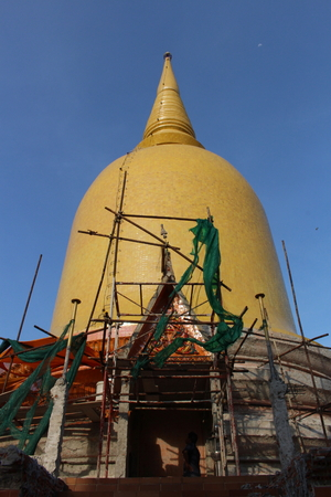 renovated: Buddhas pagoda being renovated. Theres craftman who has fully indigenous knowledge.
