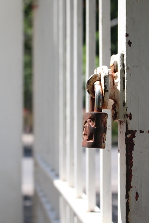 lock and key: Lock out with the key. Stock Photo