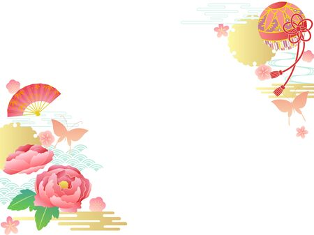 Japanese traditional background with peony