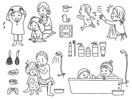 Illustration of family taking a bath Illustration