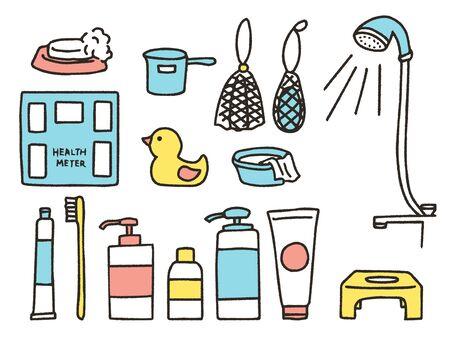 Illustration set of goods in bathroom