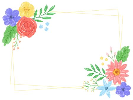 frame of water color flowers