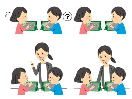 illustration of studying elementary students  Illustration