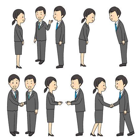 illustration of buisness manner in office 일러스트