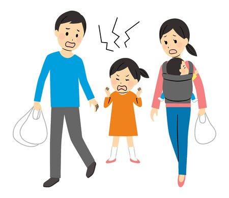 illustration of parents going out with their kids Ilustración de vector