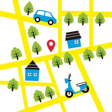 simple illustration of map and vehicle