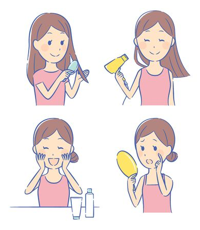 illustration of girl and cosmetics