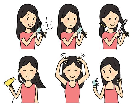 illustration of lady caring her hair Vector Illustratie