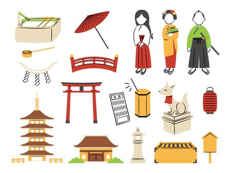 illustration of shrine and temple 矢量图片