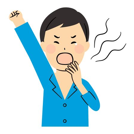 illustration of man yawning in the morning