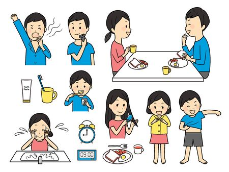 illustration of people in the morning