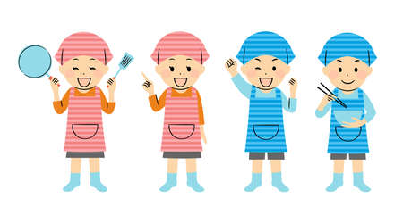 illustration of cooking and kids Vector Illustratie