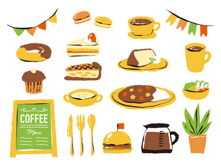 illustration of cafe and cakes