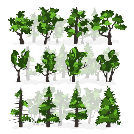 Bright vector set of trees.