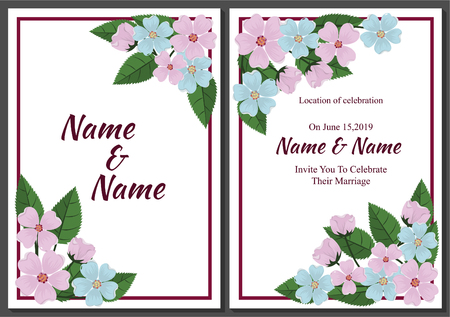 Beautiful wedding template with flowers.