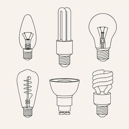 Vector illustration of line lamps.