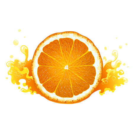 lobule: Slice of ripe orange with juice