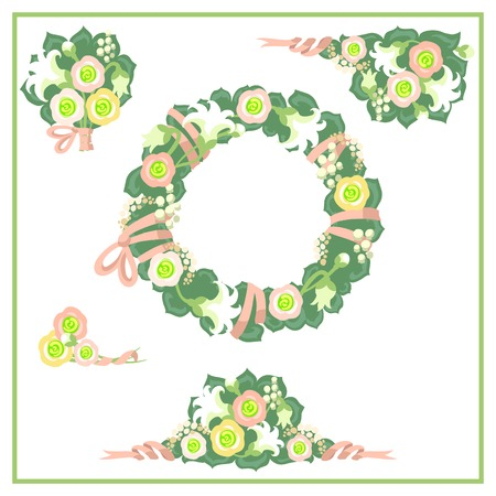 herb garden: Cute floral graphic elements for your wedding and birthday design.
