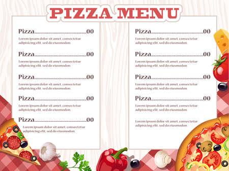 plantilla de menú de un restaurante de pizza con los ingredientes. Ilustración del vector.