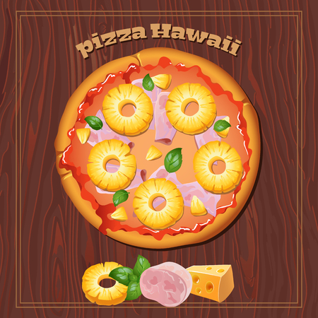 basil: Yummy Hawaiian pizza on the wood background with ingredients.