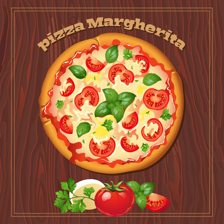 margherita: Yummy pizza margherita on the wood background with ingredients.