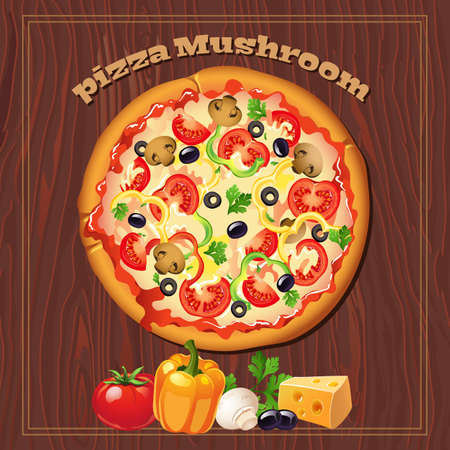 Yummy mushroom pizza on the wood background with ingredients. Illustration