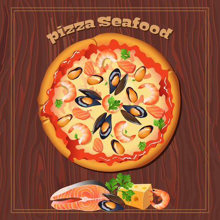 pizza ingredients: Yummy seafood pizza on the wood background with ingredients. Illustration