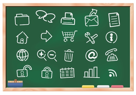 Illustration - web icon set on blackboard. vector Vector
