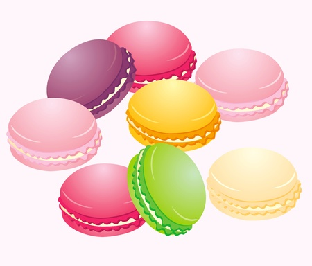 cookies: Vector illustration-Colorful Macaron in close up isolated on white background