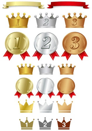 gold silver bronze: illustration - Awards icon set vector