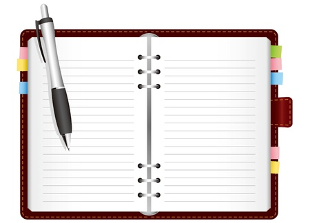 organizer page: Illustration - diary with colored tabs. Vector