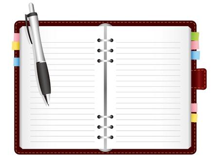 図 - 着色されたタブ付きの日記。ベクトル