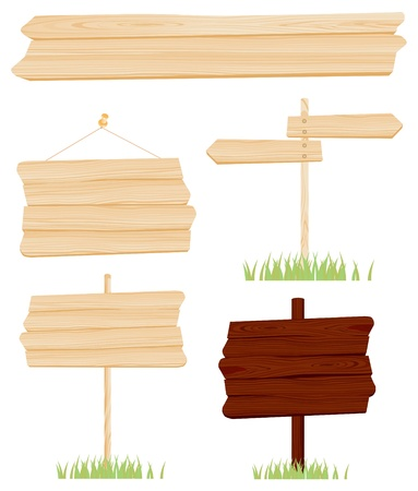 Illustration - Set of Wood Signs vector Vector