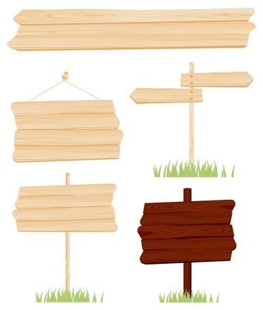Illustration - Set von Holzschilder Vektor