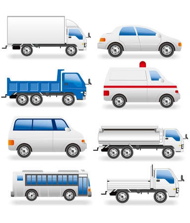 minivan: vehicles icons set vector