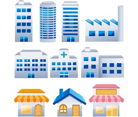 사무실 건물: 일러스트 - 건물 아이콘을 설정합니다. 아키텍처 이미지 벡터