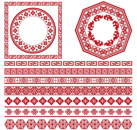 set of chinese decorative frame collection   イラスト・ベクター素材