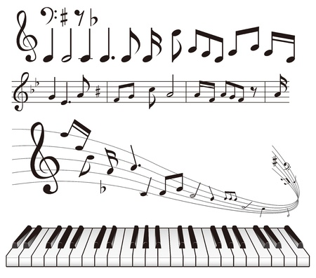 stave: illustration - Music notes vector Illustration
