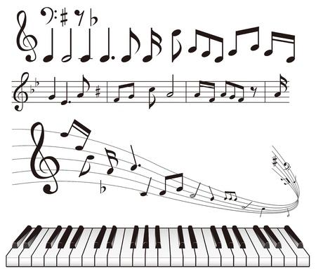 quarters: illustration - Music notes vector Illustration